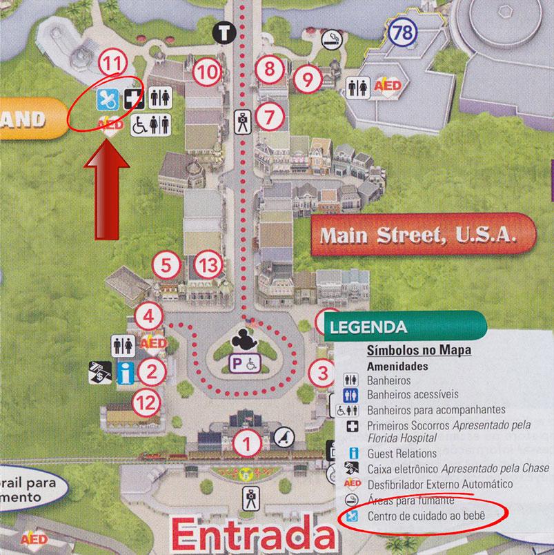 Nos mapas em português o Baby Care aparece como centro de cuidado ao bebê.